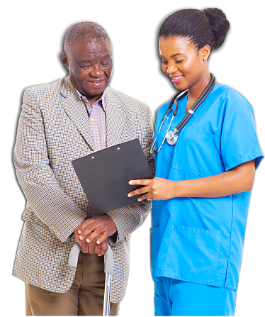 young nurse assessing the patient's medical results